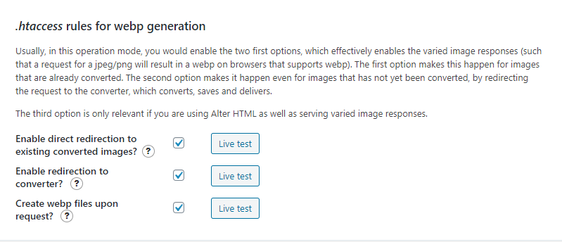 htaccess rules for webp generation